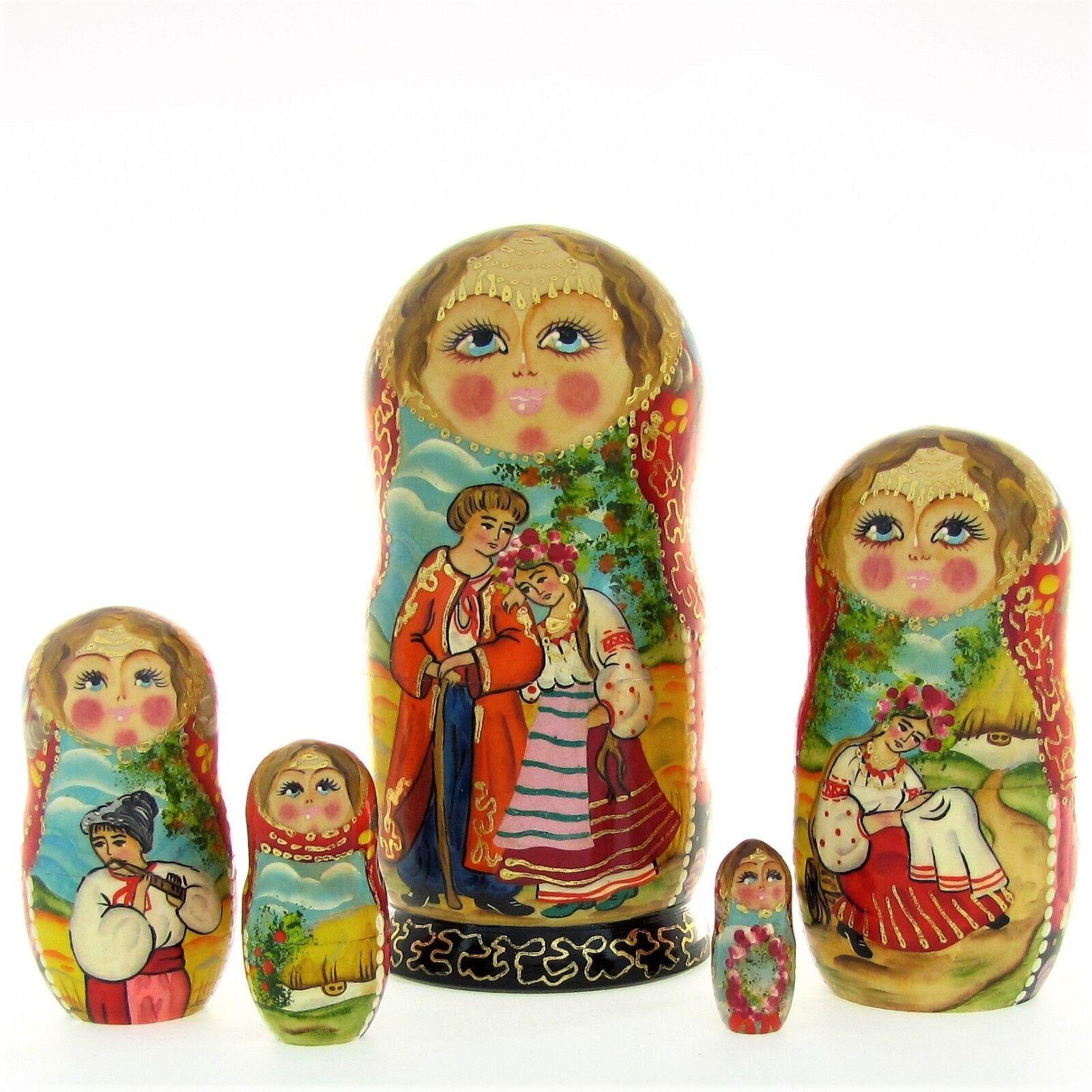 5 Poupées russes H18 peint main signé Matriochka Gigognes Nested Doll Matrioshka