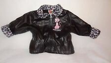 Winter Coat Black Faux Leather & Fur Park Bench Kids Size 12 Months Kitty