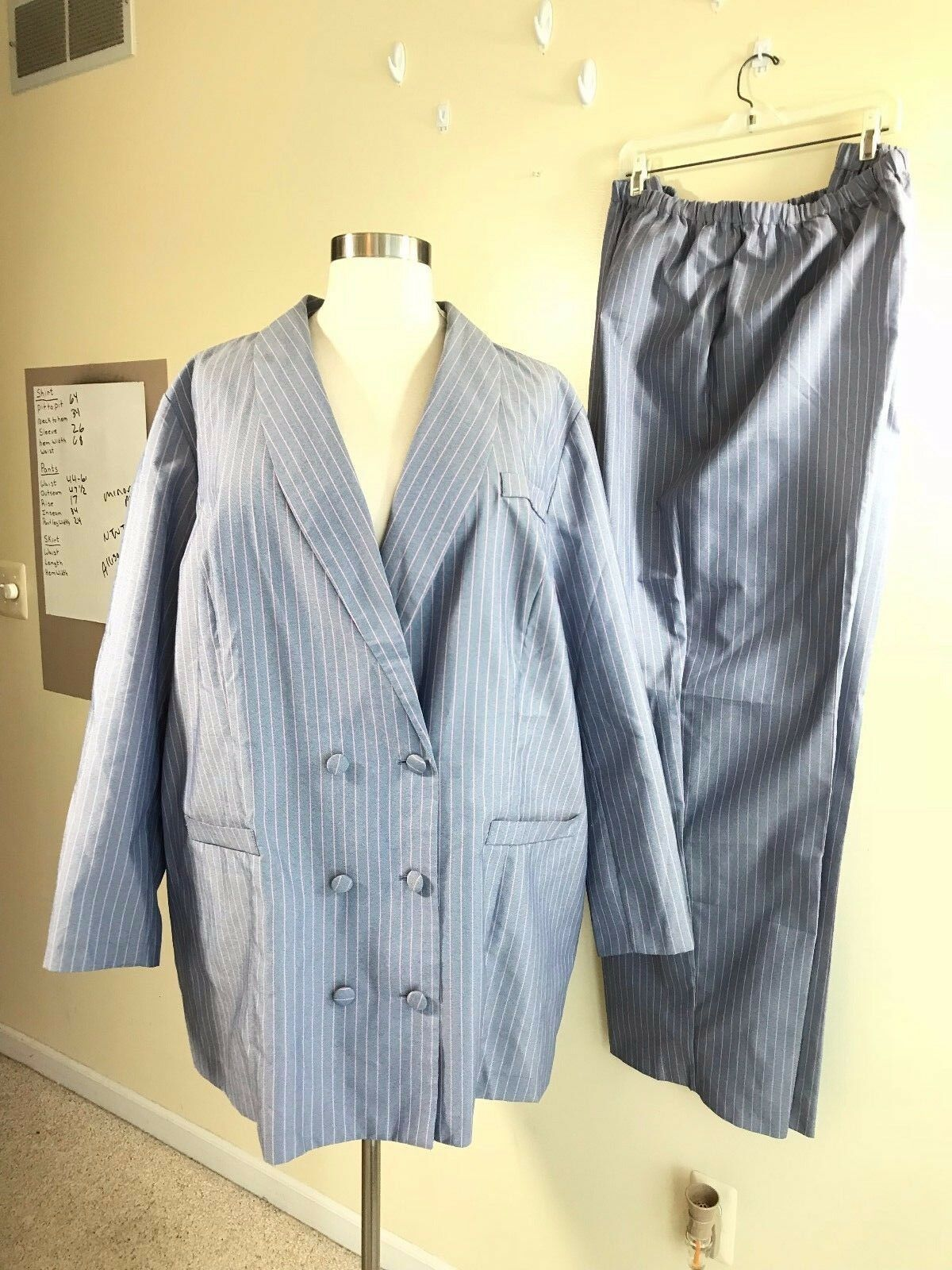 NWOT ALLISON WOODS Plus Size 32 Tall Powder bluee Pink Stripe Polyester Pant Suit