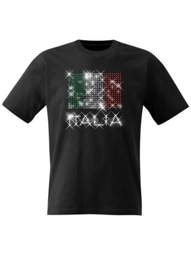 Flag Italia T Shirt Ruby Football Sports Italian Fans Top Sparkle Rhinestones