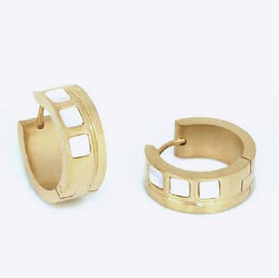 Titanium Klapp Creolen Kreolen Ohrringe Gelbgold vergoldet Titan Damen Herren 13