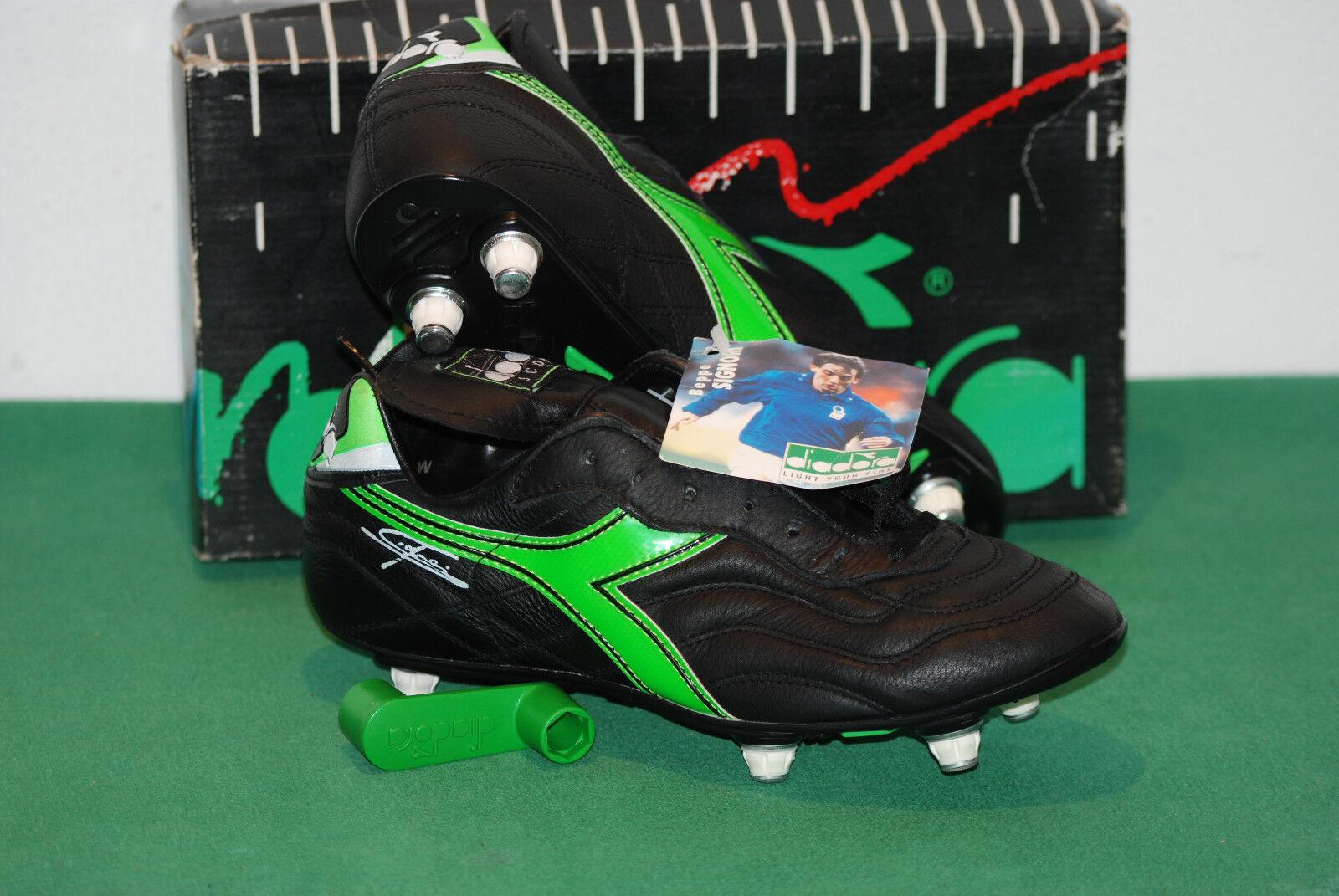 Vintage Diadora Beppe gentleHommes Scorer SC Football bottes UK 7.5 Double Action 90