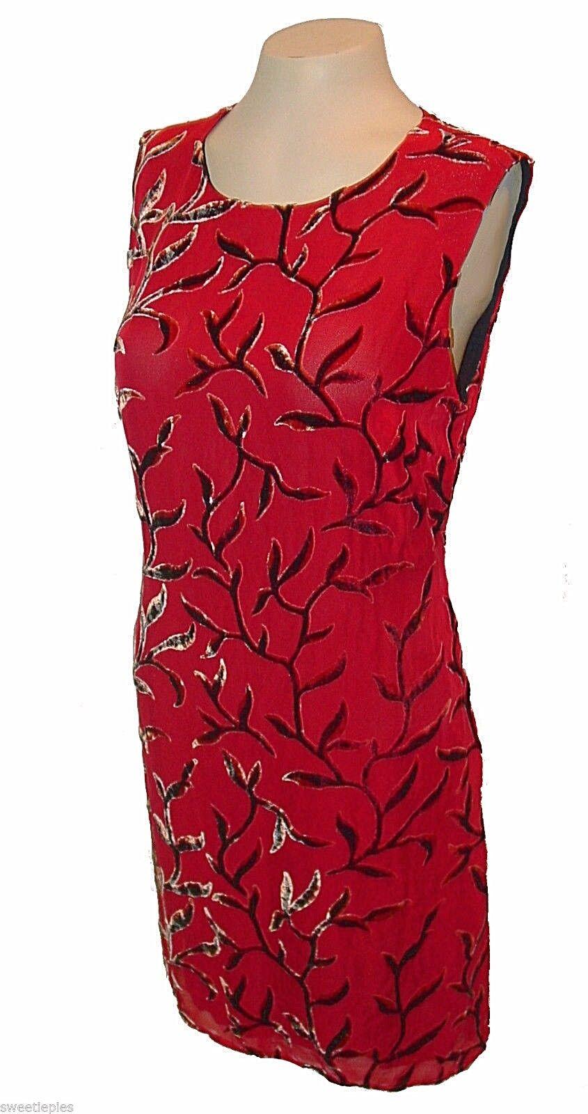 New Dress, Dress, Dress, Tessuto, Shift Sheer w Velour-shiny-pattern Lined Silk-Blend Red, L 8b975a