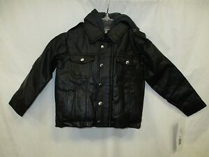 ea5e6b262 Rothschild Faux Leather Moto Hooded Youth Toddler Jacket Black 2T 3T ...