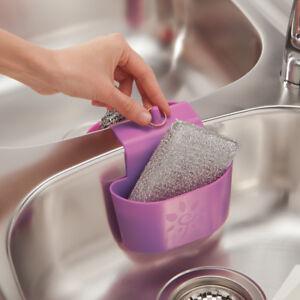 Dettagli su Portaspugna Lavello Cucina Cestino per Scolare Organizzazione  Lilla Plastica