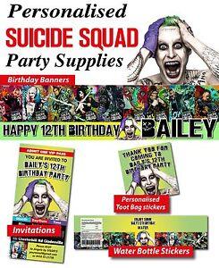 Das Bild Wird Geladen Personalised Suicide Squad Birthday Party Banner Decorations