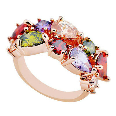 Jewelry Engagement Rings Size 6/7/8/9/10 Multicolour CZ Women's Rose Gold Filled
