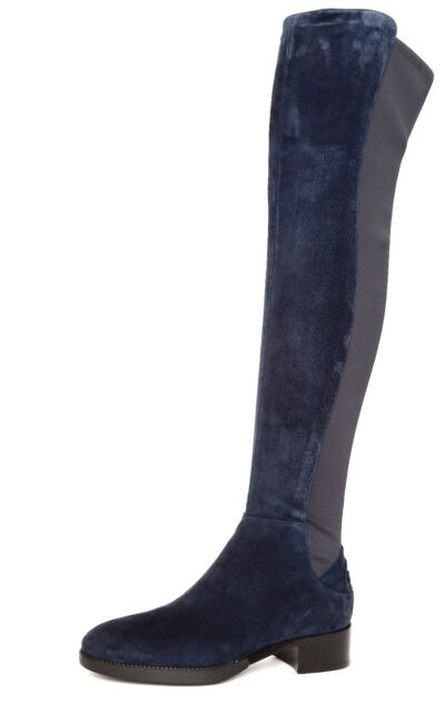 921f84cc4b6f Tory Burch Caitlin Stretch Navy Suede Over The Knee Women s BOOTS ...