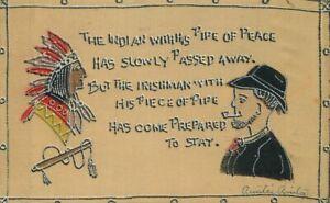 1907-Silk-Native-American-Indian-Irish-Arts-amp-Crafts-Saying-Postcard