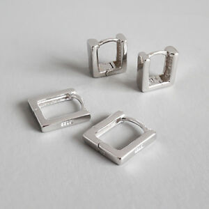 Classic-Women-Genuine-S925-Sterling-Silver-Square-Tube-Earrings-Clips-Minimalist