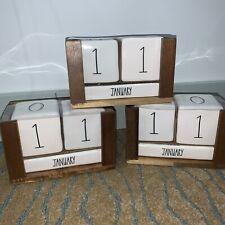 Rae Dunn Calendar Ceramic Amp Wood Perpetual Block New