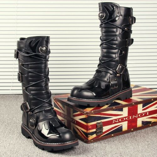 Homme Gothique Punk Lace Up Knee High Boot militaire moto motard Chaussures yoooc