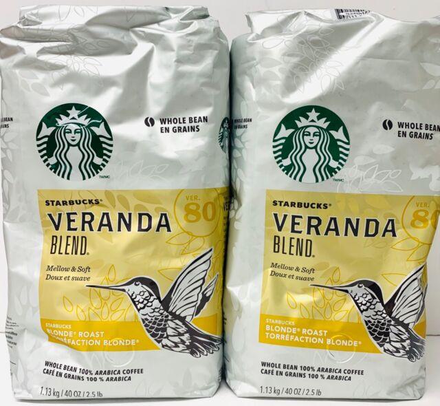 Lot Of 2 Starbucks VERANDA BLEND Whole Bean Blonde Roast Coffee 2.5 LB Each -T8