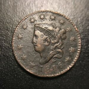 1816-Matron-Head-Large-Cent-VF-Very-Fine-Middle-Date-EAC-Coronet-1c
