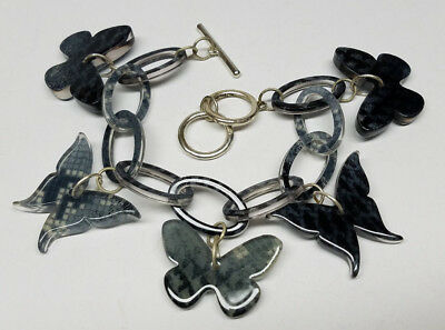 Bright Butterfly Charm Bracelet Black Silver Gray Fashion W/toggle Lock Lady Girls Gift Soft And Light Jewelry & Watches
