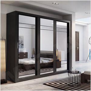kleiderschrank anna ii schiebet ren schrank mit spiegel kleiderstange wei wenge ebay. Black Bedroom Furniture Sets. Home Design Ideas