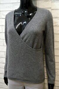 LUISA-SPAGNOLI-M-Maglione-Grigio-Donna-Maglia-Pullover-Lana-Sweater-Woman-Italy