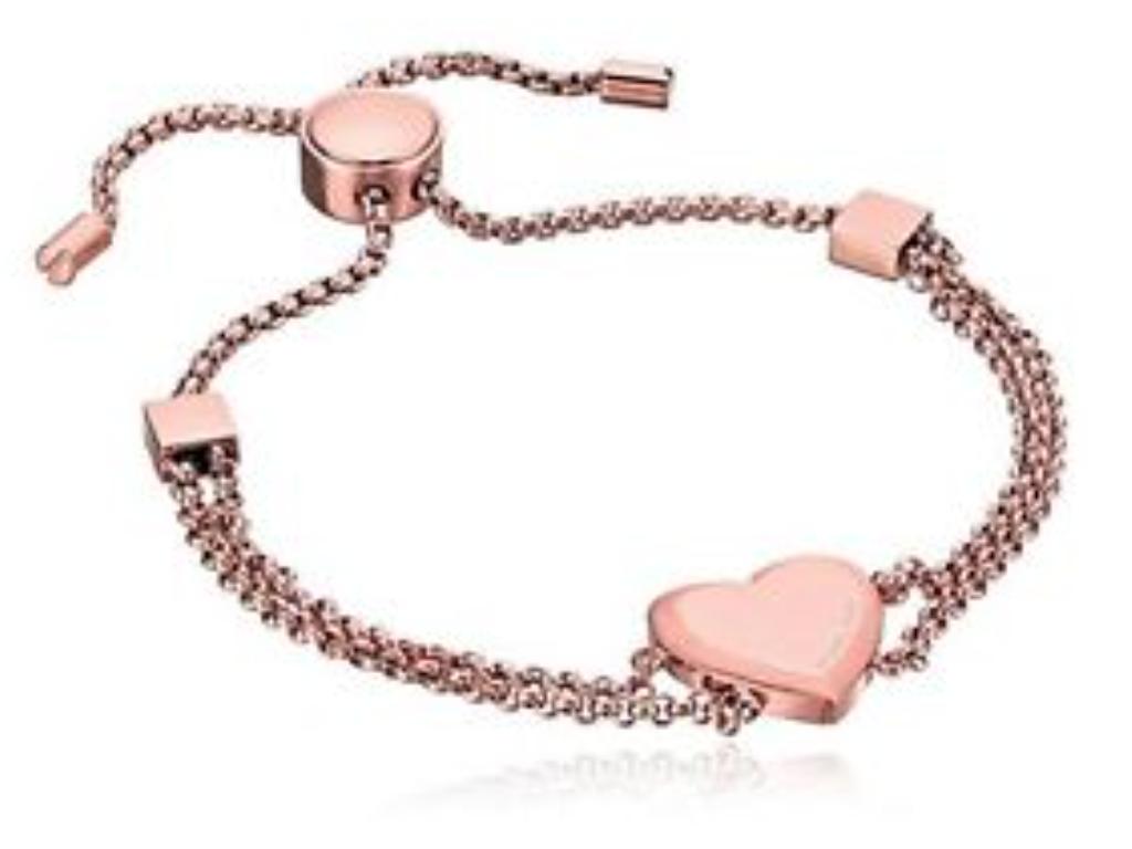 Michael Kors Women's Rose Gold Heart Mother's Day Chain Bracelet MKJ6396791 +BOX