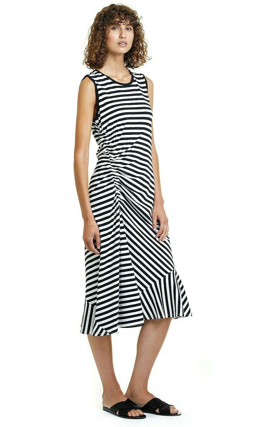 NWT   140 COUNTRY ROAD  Stripe Knit Midi DRESS in Pima Cotton  M  XL