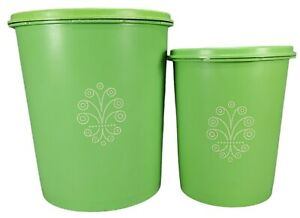 Lot of 2 Vintage Tupperware Servalier Canisters Green 807-8 811-13