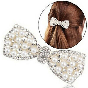 Women-Girl-Crystal-Bow-Hair-Clip-Hairpin-Barrette-Pearl-Hair-Accessories-uW