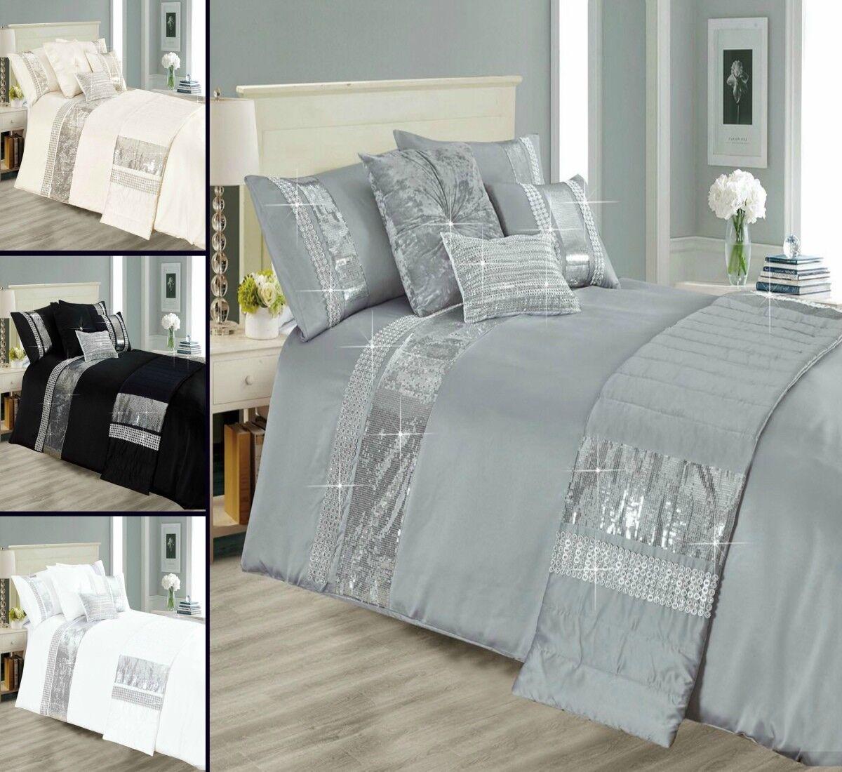 5 Pieces Glittery Sequin Duvet Quilt Cover Complete Bedding Set Premium Quality