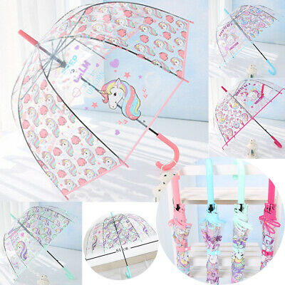 Unicorn Umbrella For Girls Colourful Pink Transparent Clear Bubble Dome School