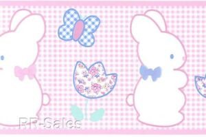 Pink White Tiny Checked Butterflies Flower Bunny Baby Girl Wall Wallpaper Border Ebay