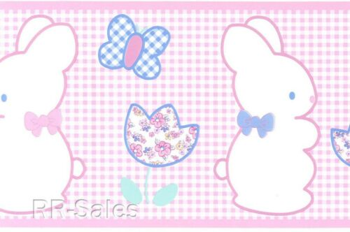 Pink White Tiny Checked Butterflies Flower Bunny Baby Girl Wall Wallpaper Border