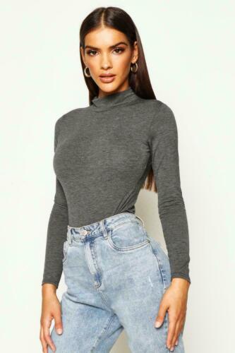 Débardeur Femme Tortue Polo Cou Body Justaucorps à manches longues T Shirt Body Top