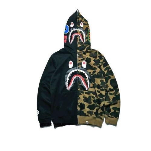 New Bape Bathing ape Jacket SHARK Head Camo FULL ZIP HOODIE Long Sleeve Clothes