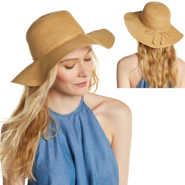 aa24d0d2 New AUGUST Toyo Straw Beach Floppy Hat Sun Protect Crushable Womens Natural