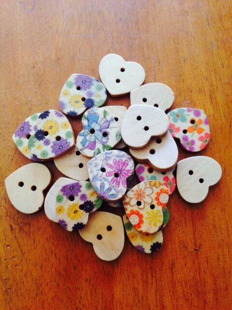 Wooden Heart Buttons x 25
