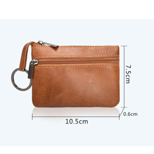 Women MEN Mini Small Real leather Zipped bag pouch wallet coin Key purse