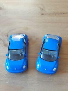2-X-Realtoy-Azul-Nueva-Forma-VW-Beetle-1-64-escala-Diecast-Paquete-De-Coches-De-Juguete