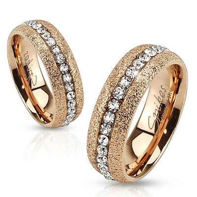 Stainless Steel Glittery Rose Gold IP with Clear CZ Center Men Ring Wedding Band
