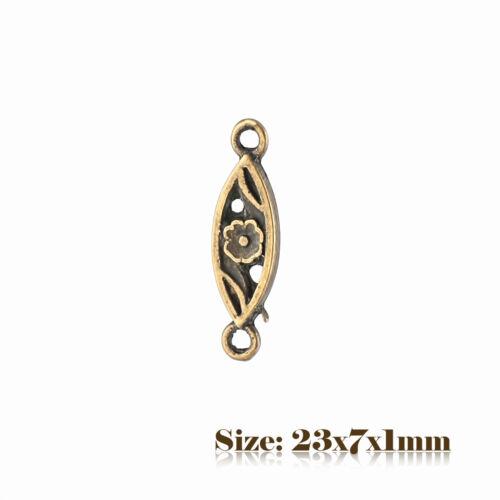 10 Bronze Antique Vintage Style Flower Connector Charms Pendant Steampunk 035