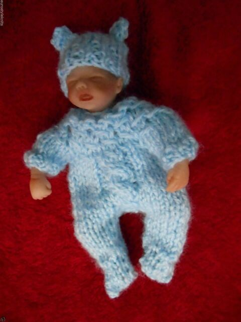 """Doll Clothes Vintage Style footed suit sculpted baby 4"""" 5"""" fits Heavenly Handful"""