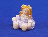 Dolls House 12th Scale - Resin Dolly In Lilac Coloured Dress