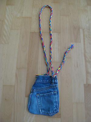 Damen Beuteltasche Jeans Look Style blau 16 cm breit Handtasche