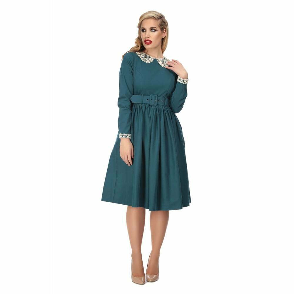 Collectif Vintage Trudy Swing Dress Blue UK14