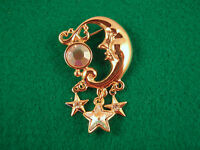 New Kirks Folly Crystal Moon & Stars Brooch Pin