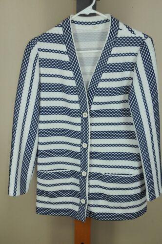 Vintage Rikki Women's Navy & White Geometric Strip