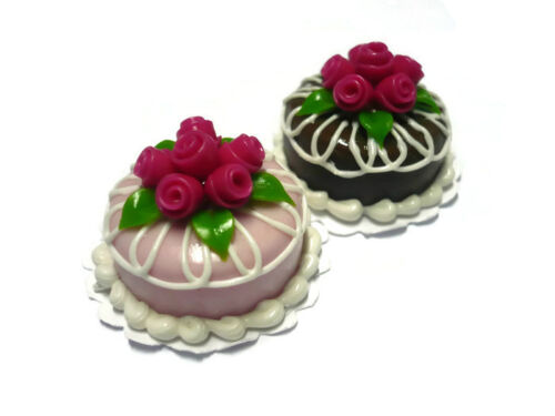Set of 2 Pink//Chocolate Cake Blossom Rose Top Dollhouse Miniatures Food Deco