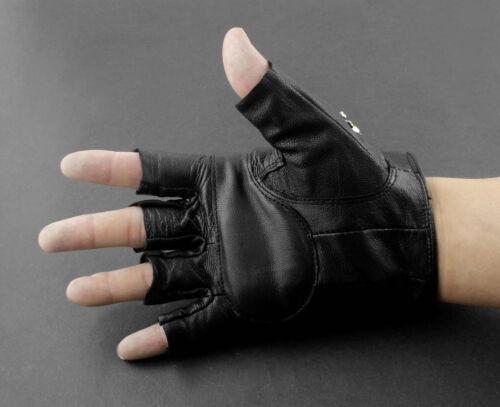 Mens Real Leather Skull Punk Rocker Driving Motorcycle Biker Fingerless Gloves