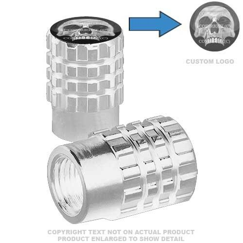 079 CHROME SKULL HALF 2 Silver Billet Aluminum Knurled Tire Valve Cap