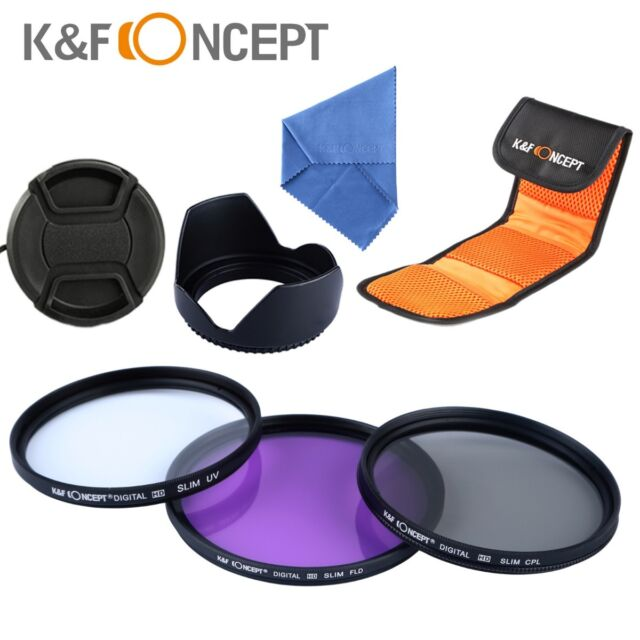 NEW 67mm UV + CPL + FLD Filter Kit for Canon Nikon Sony + Lens Hood + Lens Cap