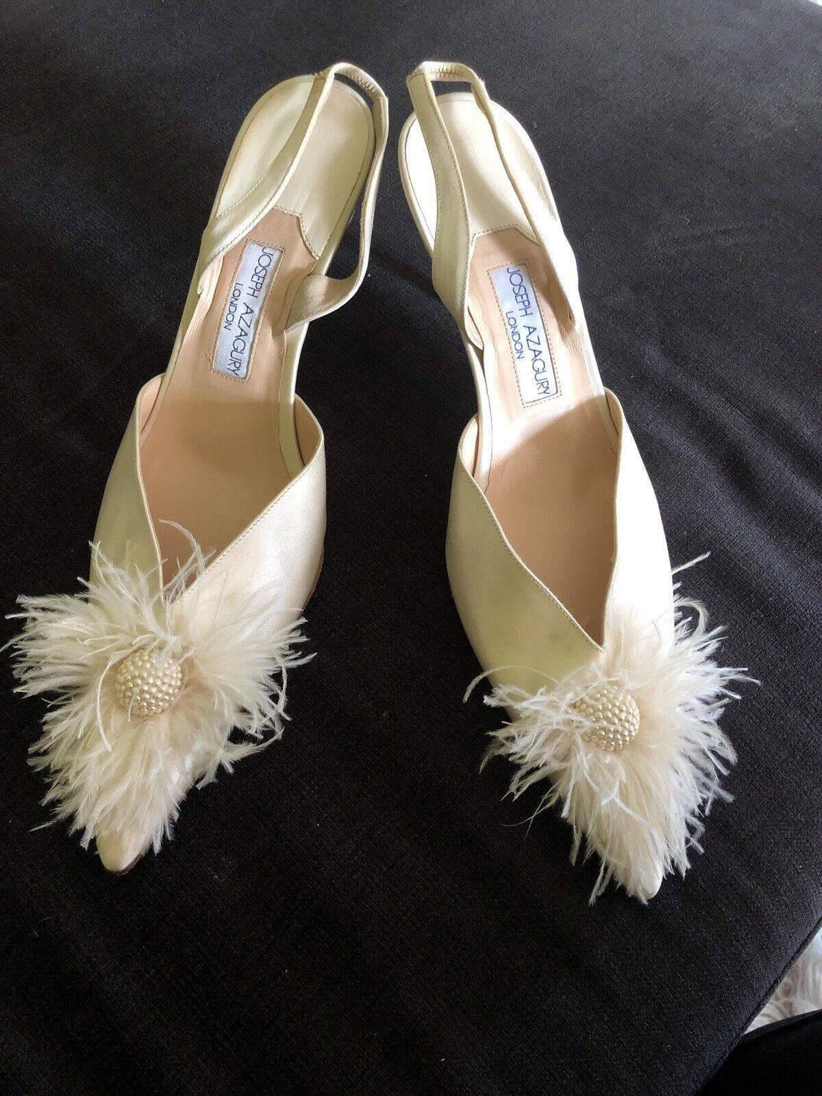 Beautiful Bridal Shoes 42, Satin, Feathers, Beads, Slingback, NEW Joseph Azagury