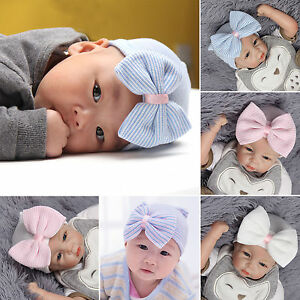 Newborn-Infant-Baby-Hospital-Hat-Beanie-With-Bow-Soft-Sweet-Baby-Striped-Caps