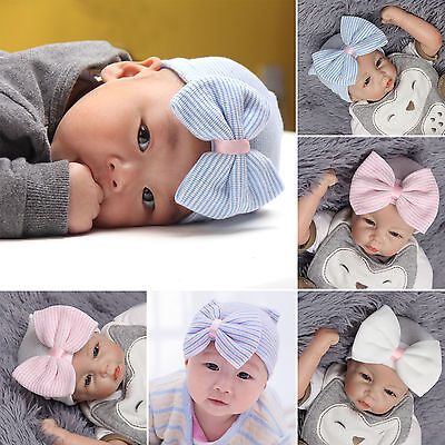 Baby Girls Infant Striped Safty health Soft Hat with Bow Cap Hospital Newborn
